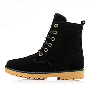 Amazon.com | Womens Mens Pu Leather Mid Calf Boots Snow