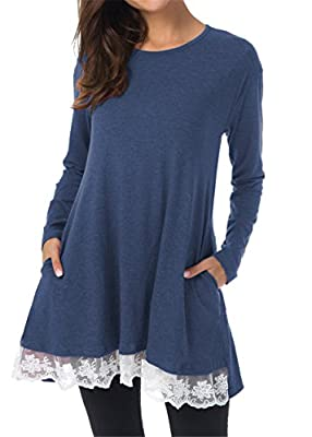 Taydey Women Lace Long Sleeve Tunic Top Casual Blouse With Pockets