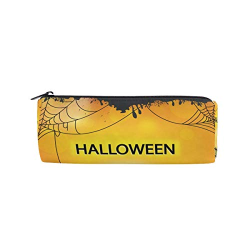 JERECY Happy Halloween Spide Cobweb Pencil Case Pouch Bag School Stationery Pen Box Zipper Cosmetic Makeup Bag -