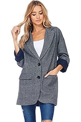 A+D Womens Casual Oversized Boyfriend Fall Tweed Blazer Jacket