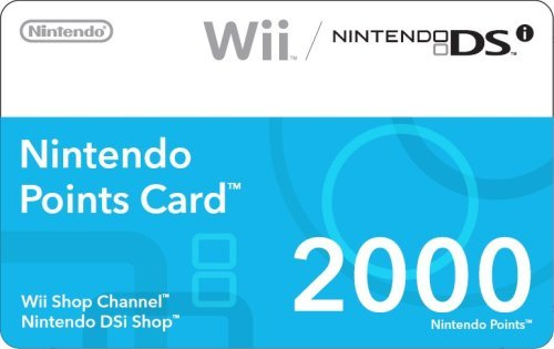 Nintendo Wii 2000 Points Card - Nintendo 2000 Points Card and Prepaid Card $35 [Digital Code]