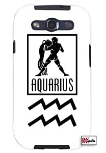 Aquarius Sign Zodiac Horoscope Symbol Unique Quality Hard Snap On Case for Samsung Galaxy S3 SIII i9300 (WHITE) by heywan