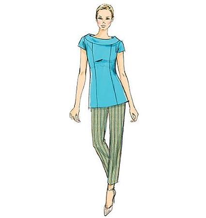 Vogue Patterns V8886 - Patrones de costura para blusas, pantalones y vestidos de mujer (tallas 44 a 52): Amazon.es: Hogar