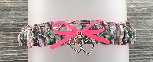 Sexy Camouflage Hot Pink Satin Wedding Tossing Bridal Toss Garter - Double Heart ()