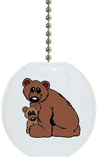 Carolina Hardware and Decor 1033F Bear & Cub Ceramic Fan Pull