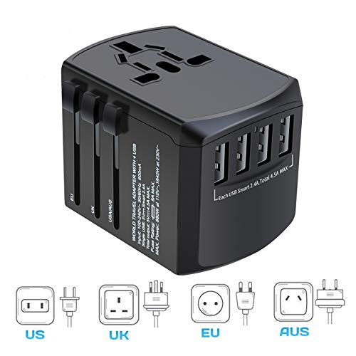 International Travel Adapter, Worldwide Travel Charger with 4 USB Ports Power Converters for EU, UK, US, USA, AU, Europe…