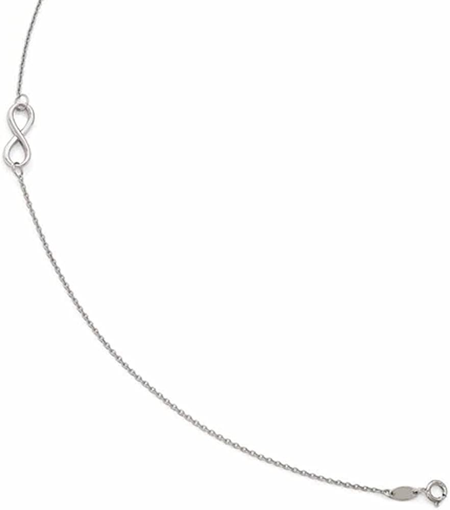 CKL International Oro Bianco 14/K Infinity cavigliera 22,9/cm Plus Extender