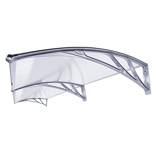 VIVOHOME Polycarbonate Window Door Awning Grey 80 Inch x 40 Inch