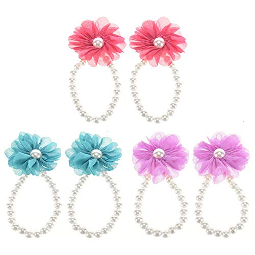 Barefoot Sandals for Baby Girls, 3 Pairs of Girls Baby Pearl Chiffon Barefoot Flower Sandals Purple Rose Red Blue