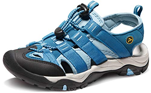 (ATIKA Women's Sports Sandals Trail Outdoor Water Shoes 3Layer Toecap, All Terrain Orbital(w107) - Sky Blue, 9)