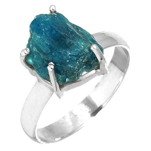 Solid 925 Sterling Silver Ring Natural Neon Blue Apatite Rough Gemstone Collectible Jewelry Size 10