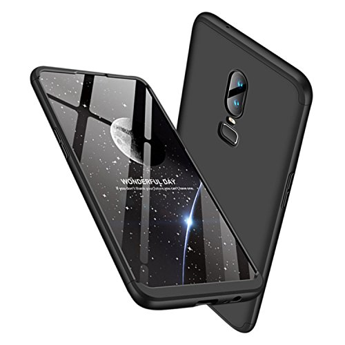Leodea Oneplus 6 Case, 3 in 1 Ultra-Thin PC Hard Case Cover for Oneplus 6 2018 (Black)