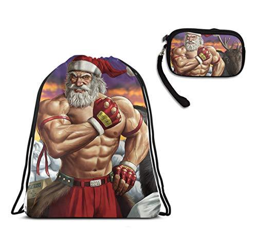 Mens Women Drawstring Bag Theft Proof Lightweight Beam Backpack, Swim Cinch Sackpack - Santa Muscular Man Deer Waterproof Backpack Soccer Basketball Bag for $<!--$10.99-->