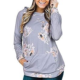 STYLEWORD Women's Hoodies Floral Printed Casual Long Sleeve Sweatshirt with Pocket