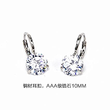 f3088ec9f Image Unavailable. Image not available for. Color: Simple Super Flash  zircon earrings 925 sterling silver ...