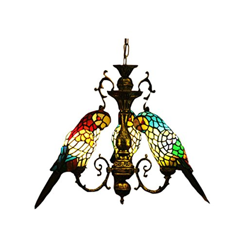 FUMAT Tiffany Style Stained Glass Parrot Chandeliers 3 Heads Restaurant Pendant Lamps 3 Light Bulbs Pendant Light For Sale