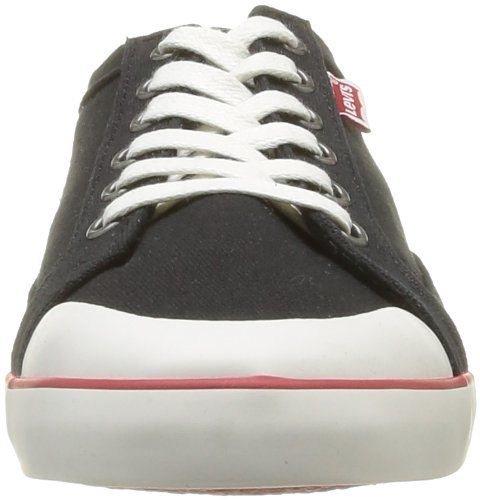 Levi's 221777 Venice Negro Rojo Blanco Canvas Nuevo Hombres Plimsoles Capacitadores Zapatos