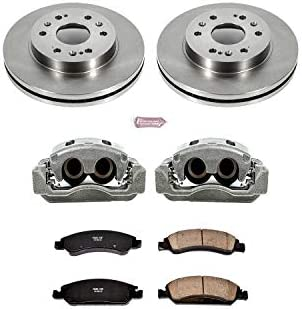 CCK02330 FRONT Powder Coated Black Ceramic Brake Pads Remanufactured Calipers + 2 2 4 Zinc Plated D//S Rotors +