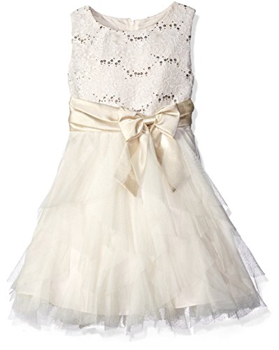 White Gold Cascade - Rare Editions Big Girls' Lace Bodice to Cascade Social Dress, Ivory/Gold, 10