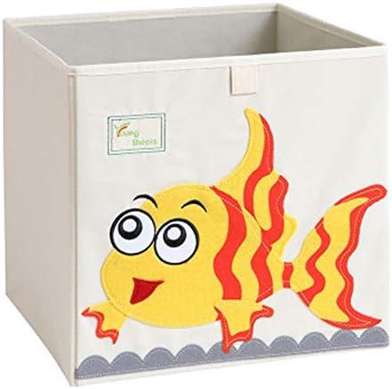 Retenci/ón de dibujos animados Dados Lienzo plegable juguete caja para ni/ños amarillo Dinosaurios