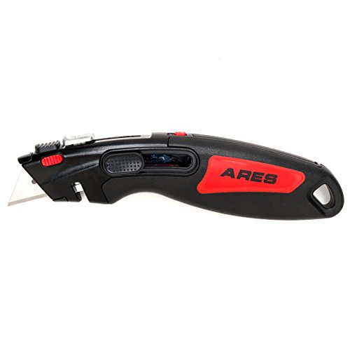 ARES 70340 | 2 in 1 Heavy Duty Utility Knife | Quick Blade Change Design | Manual and Automatic Retraction | 3 Blades Included with Knife
