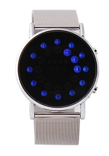 USPRO® Ultra-slim LED Digital Fashion Round Mirror Stainless Steel Wrist Watch Blue Light Circles Unisex by Prous