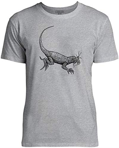 Austin Ink Apparel Lizard Eating Unisex Womens Soft Cotton Tee, Gray Marle, Small