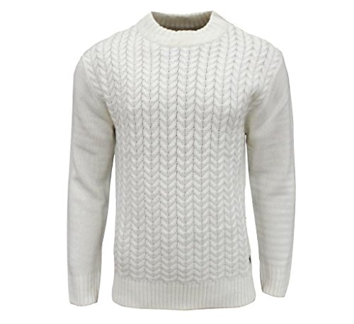 Soul Star Men's Tugger Turtle Neck Cable Knit Jumper Ecru Large