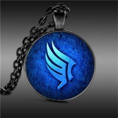 Gimax Anime Fairy Tail Pocket Watch Necklace Mass Effect Paragon Jewelry Round Glass Cabochon 25mm Necklace - (Metal Color: F) ()
