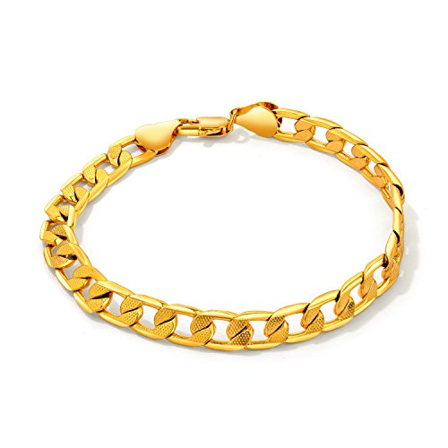 OPK Jewelry 18K Gold Plated Women's Bracelet Link Wristband Wedding Bride Gifts 8.66