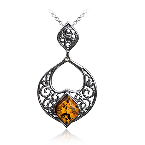 Sterling Silver Amber Lace Pendant Necklace Chain18 Inches