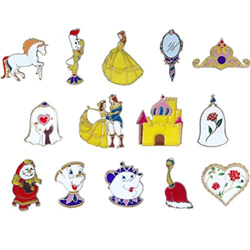 WINZIK Lapel Pins Set Novelty Cute Cartoon Brooch Badges for Children Adults Clothes Backpacks Decor (Prince Princess Crown Mirror Pins Set of 14)