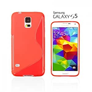 OnlineBestDigital - Colourful Semi-Transparent Gel Case for Samsung Galaxy S5 - Red with 3 Screen Protectors and Stylus