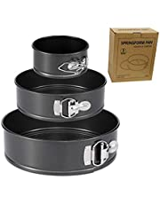 Springform Pan Set, 9 Inch 7 Inch 4 Inch 3-Piece Non-Stick Leakproof Round Cake Bakware Set with Removable Bottom Insta Pot Pressure Cooker, Black