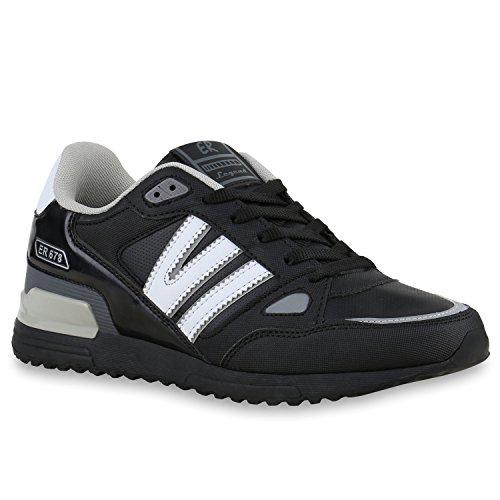 Stiefelparadies Herren Laufschuhe Sneakers Runners Sportschuhe Lack Flandell Schwarz Weiss Agueda