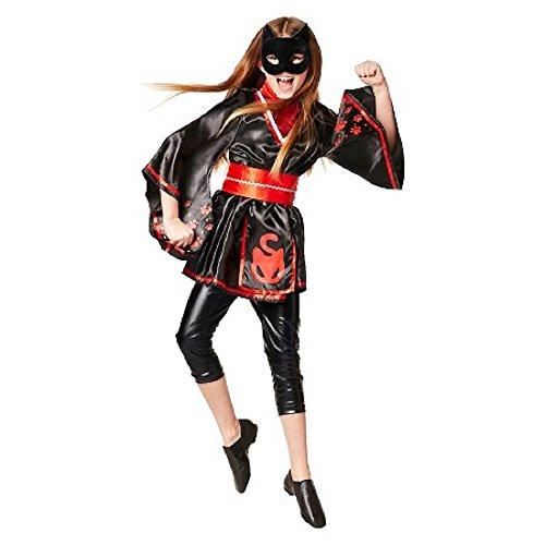 Girl's Kitty Cat Ninja Superhero 4 pc Halloween Costume Black & Red - Medium (Ages 7-8) - Black Cat Costume Target