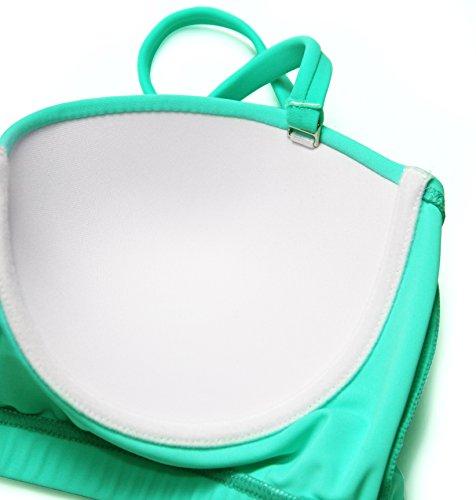 Angerella Retro Vintage High Waisted Bikini Swimwear Bathing Suit, Green Mint, US10-12=Tag Size 2XL by Angerella (Image #4)