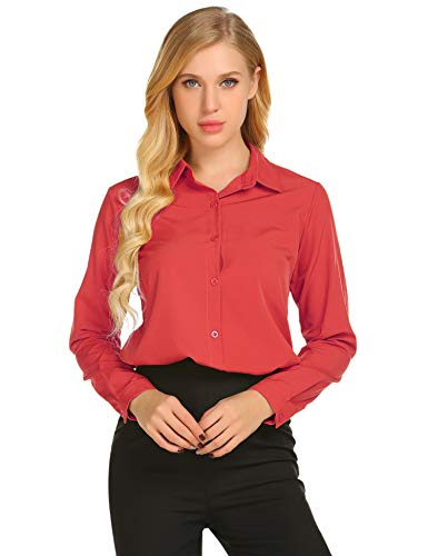 Button Up Long Sleeve Blouse - Zeagoo Women's Long Sleeve Casual Polka Dot Button Up Office Blouse Shirt Top,Watermelon Red,Small