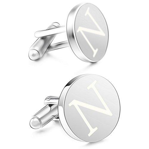 Plated Mens Cufflinks (MOWOM Silver Tone 2PCS Rhodium Plated Cufflinks Initial Letter Capital Alphabet N Shirt)