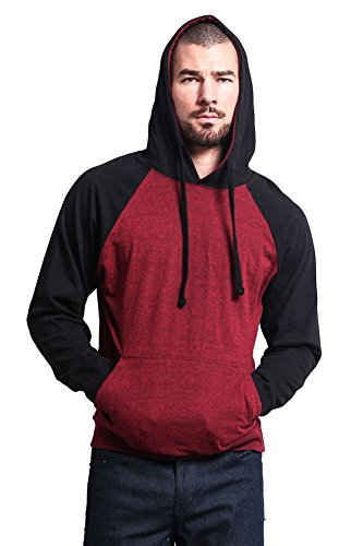G-Style USA Lightweight Contrast Raglan Sleeve Pullover Hoodie MH13114 – CRANBERRY CAVIAR/BLACK – X-Large – S1C