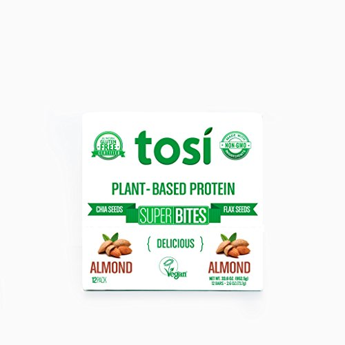 Tosi SuperBites Almond, 2.6 oz Bar, 12 Count Pack | Vegan, Plant-Based, Gluten Free, Omega 3's and Fiber - Natural Bars Nut Be
