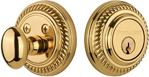 (Nostalgic Warehouse 719074 Rope Solid Brass Single Cylinder Deadbolt with 2-3/4