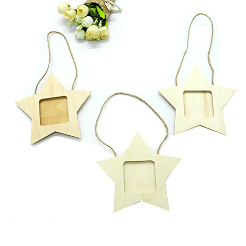HUELE Unfinished Wooden Mini Star Photo Frame, 10Pcs -