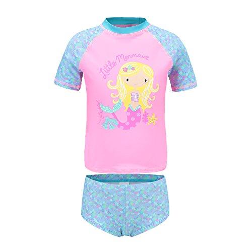 Girls Two Piece Swimsuits Short Sleeve Rash Guard Swimwear Set Swim Shirt Set 5T