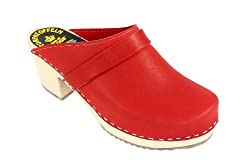 Lotta From Stockholm Torpatoffeln Swedish Clogs : High Heeled Clog in Red Leather