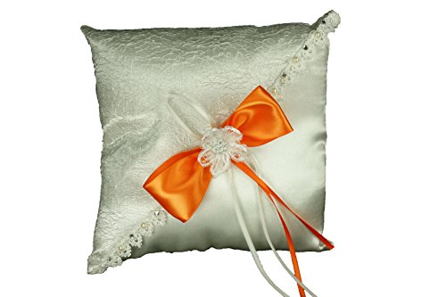 - Dreampartycreation Ivory Wedding Ring Pillow with Sisal Mesh Design Satin Bow and Rhinestone Flower Trim (Orange Bow)