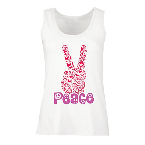 Peace Symbol Womens Tank Top - lepni.me Womens Tank Tops Hippy Peace Festival Symbol, 1960s 1970s Groovy Party Sign, Swag Hipster (XX-Large White Multi Color)