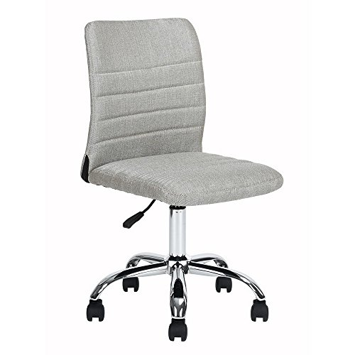 Homy Casa | Contemporary Modern Office Task Desk Work Chair | Mid Back Support Armless Upholstered Cushion Padding and Back Full 360 Swivel Rotation on 5 Double Caster wheels Adjustable Seat Height by HOMY CASA