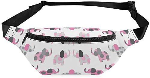 ピンクのエリーの象の友人 ウエストバッグ ショルダーバッグチェストバッグ ヒップバッグ 多機能 防水 軽量 スポーツアウトドアクロスボディバッグユニセックスピクニック小旅行