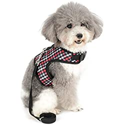 SMALLLEE_LUCKY_STORE Bowtie Plaid Cat and Small Dog Harness with Leash Set Adjustable No Pull Escape Proof Soft Walking Jacket Waterproof Boy Puppies Kitten Harness Vest Outdoor,Red XS